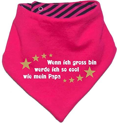 Kinder Wendehalstuch uni/gestreift (Farbe pink-navy) (Gr. 1 (0-74)) Wenn ich gross bin werde ich so cool wie Papa
