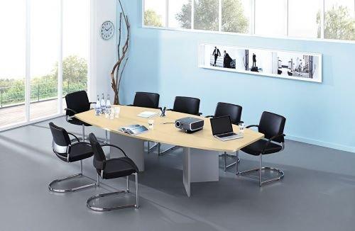 Hammerbacher Konferenztisch für 10 Personen mit silbernem Holzun