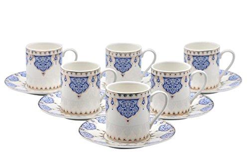 Bone China Porzellan Espresso Turkish Coffee Demitasse Set von 6Arabesque Muster Tassen + Untertassen fein Demi-tasse, 3 oz, 80 ml blau (Blau China Tasse Und Untertasse)