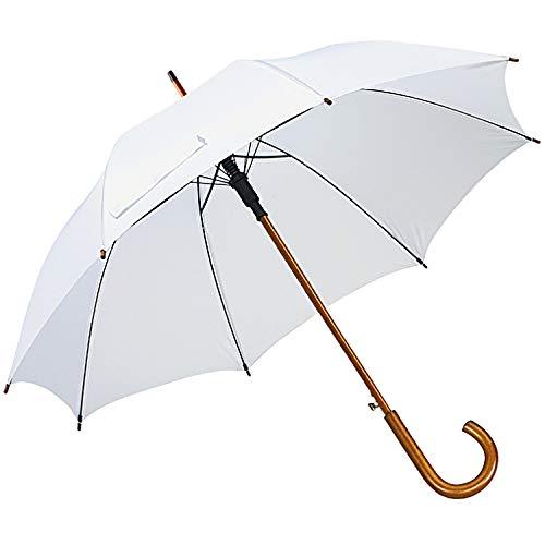 Chauffeur Schirm Hochzeit weiß Zubehör Regenschirm Stockschirm Holzgriff Automatikschirm