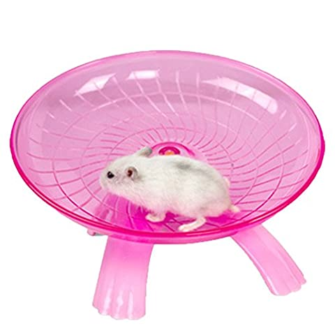 Hamster Flying Saucer Exercise Wheel Jogging Running Toy Silent Spinner for Pet Rat Gerbils Mice Chinchilla Guinea Pig Squirrel and Other Small Animal (Red)