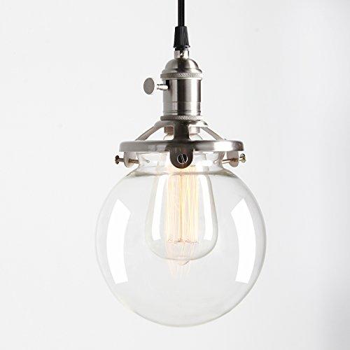 Innen-hängeleuchte (Pathson Antik Deko Design Klar Glas innen Pendelleuchte Hängeleuchte Vintage Industrie Loft-Pendelleuchte Hängelampen Hängeleuchte Pendelleuchten (Gebürsteter Edelstahl Farbe))
