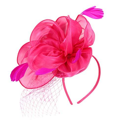 Modely Blume Flapper Stirnband Große Gatsby Kopfschmuck Kopfbedeckung Mesh Vintage Stirnband Kopfbedeckung Haarband Flapper Stirnband Kostüm Accessoires Kopfschmuck Vintage 20er Jahre (Hot Pink)