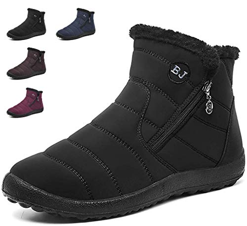 Womens Snow Boots Ladies Faux Fur Lined Winter Warm Ankle Short Boots Side Zip Heel Booties Comfort Flats Shoes School Work Size Black
