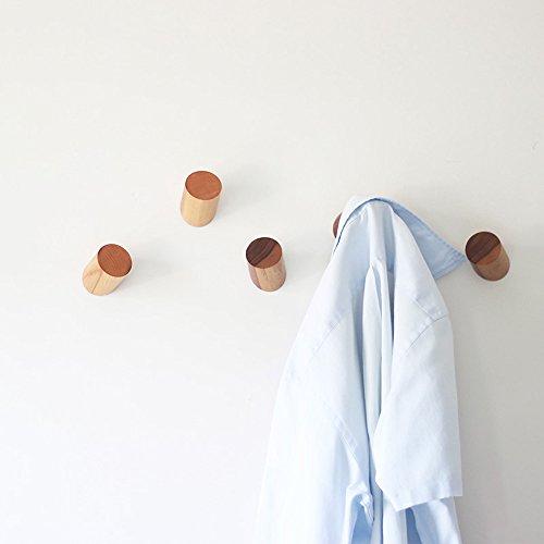 Ganci appendiabiti da parete, vintage, in legno naturale, fatto a mano (2unità) black walnut (2 units/lot)