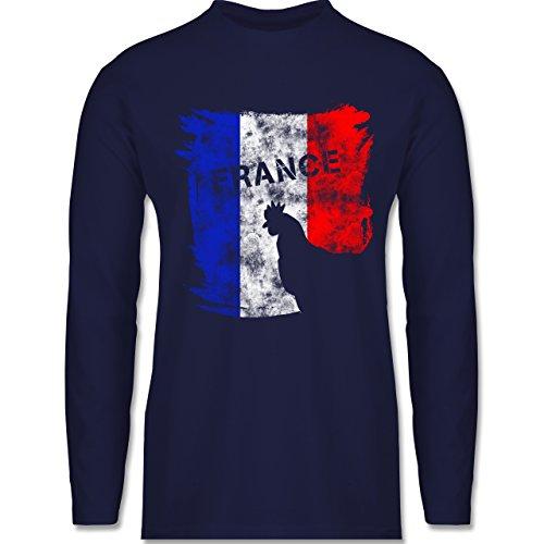 EM 2016 - Frankreich - France mit Hahn Vintage - Longsleeve / langärmeliges T-Shirt für Herren Navy Blau