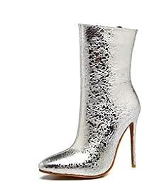 Botas de mujer botas de Moda Invierno Polipiel Wedding Party & Noche Stiletto talón Azul Rojo Negro plateado 4A-4 3/4in,Sliver,US8.5 / UE39 / UK6.5 / CN40