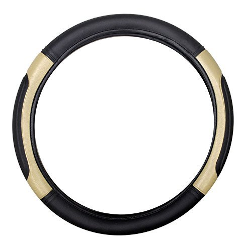 Motoway Highly Quality Black and Beige Car Steering Cover For Hyundai Eon