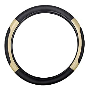 Motoway Highly Quality Black and Beige Car Steering Cover For Hyundai i10 Grand
