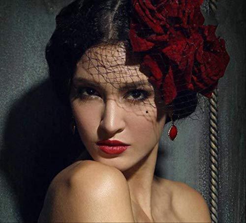 HEALUMS Mini Top Hat rote Blume Rose Clip Schleier Phantasie handgemachte Haarspangen Frauen Schleier Mesh Headwear Hut Bowler Hüte