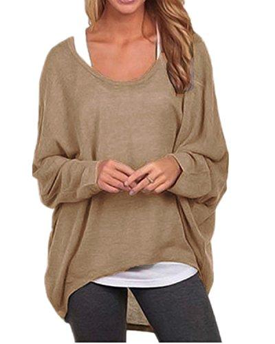 ZANZEA Damen Lose Asymmetrisch Jumper Sweatshirt Pullover Bluse Oberteile Oversize Tops Braun EU 42-44/Etikettgröße L