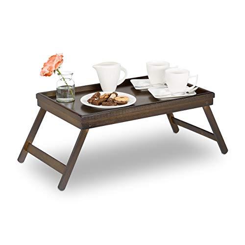 Erhöhte Bein (Relaxdays Betttablett Bambus, klappbare Beine, erhöhter Rand, Frühstückstablett fürs Bett, HBT: 22x64x31cm, dunkelbraun)
