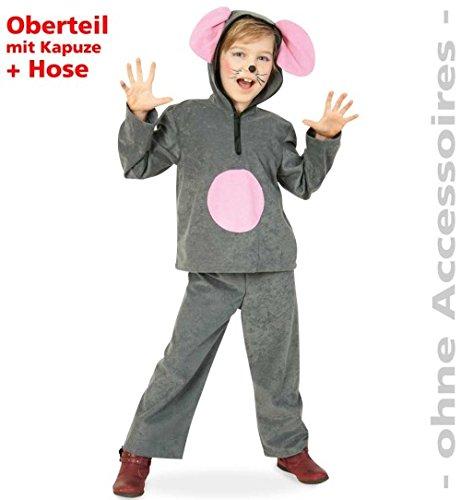 Maus Charly 128 Graues Mäuschen 2 tlg Hose + Oberteil Kapuze mit Ohren Kinder-Kostüm Fasching