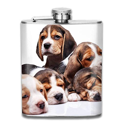 EJUNLEKEJI Flachmann aus Edelstahl,Beagle Family Double -Personalized Hip Flasks Groomsmen Gifts Customized Groomsmen Flasks Outdoor Portable small hip Flask Safe and Leak-Proof Personalized -