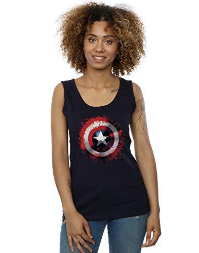 Marvel Damen Avengers Captain America Art Shield Muskelshirt Navy Blau Small