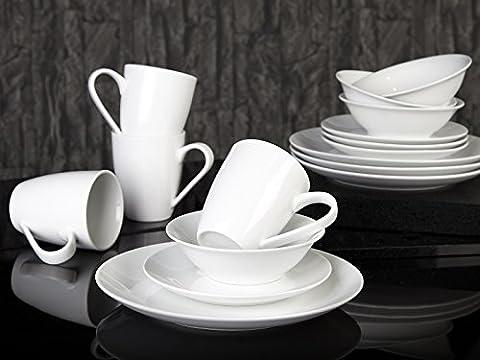 Creative Tops 32 Piece Bistro Super White Porcelain Dinner