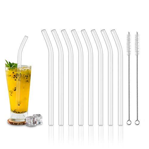 na 8 Stück Wiederverwendbare gebogene Glas Trinkhalme + 2 Reinigungsbürste Glastrinkhalme Gesund, Umweltschonend, Frei von BPA Glasstrohhalme für Cocktail, Smoothie usw ()