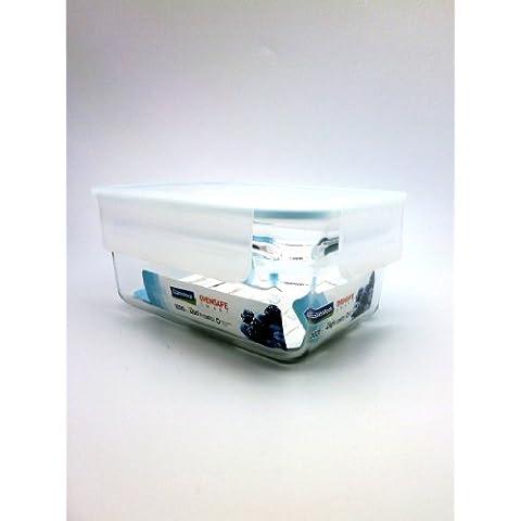 Contenedor de almacenamiento de bloqueo de cristal rectangular sin montura, 1.02Litros