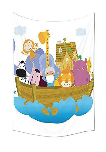 lektion Old Christian Story Arche Noah mit Set Tiere in der Boot Journey Faith Cartoon Print Schlafzimmer Wohnzimmer Wohnheim Wand Tapisserie Multi, multi, 24W By 36L Inch (Großhandel Disney Stoff)