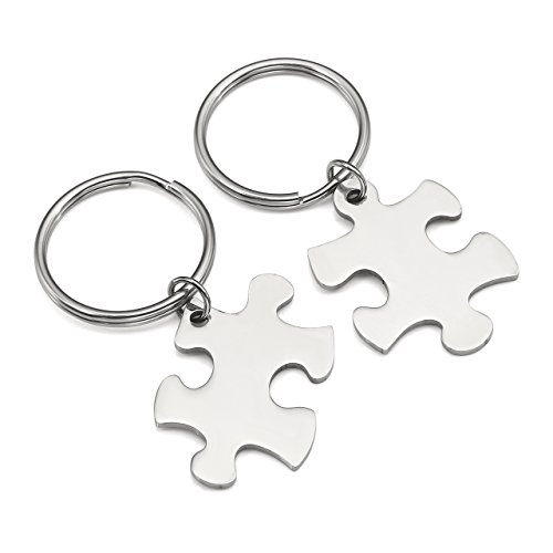 BOPREINA Personalized Gravur 2X Edelstahl 33*22mm Zwei Puzzle Schlüsselanhänger Partner Paare Liebe Freundschaft Schlüsselbund Schlüsselring Keychain (Silber, Non-Gravur)