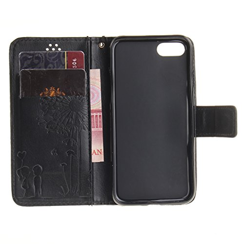 iPhone Case Cover Étui pour iPhone 7, couleur unie Housse en cuir PU Dandelion Lover Embossing Case Wallet Stand Case pour Apple iPhone 7 ( Color : 2 , Size : IPhone 7 ) 6