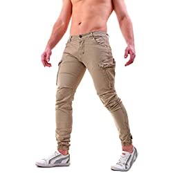 Instinct Pantaloni Cargo Uomo con Tasche Laterali Tasconi Zip Slim Fit W7 (34/48 IT, Khaki)