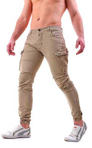 Instinct Pantaloni Cargo Uomo con Tasche Laterali Tasconi Zip Slim Fit W7 (32/46 IT, Khaki)