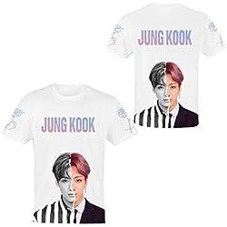 Camiseta BTS T-Shirt 3D Manga Corta Camisa Mujer Verano Blusa Sport Tops Suga Jin Jimin Jung Kook J-Hope Rap-Monster V