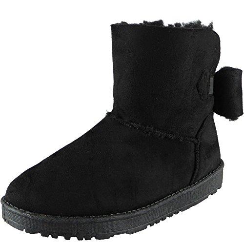 Dames Faux Fourrure Winter Chaud Unique Arc Plat Cheville Bottes Taille 36-41 Noir