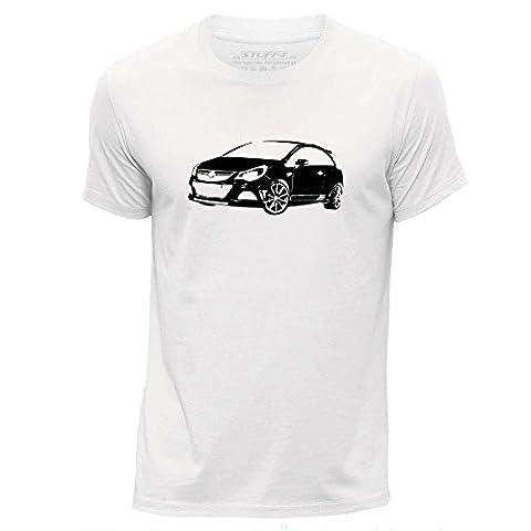 STUFF4 Hommes/Petit (S)/Blanc/Col Rond T-Shirt/Stencil Art de voiture / Corsa OPC