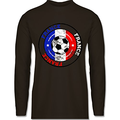 Shirtracer Fußball-WM 2018 - Russland - France Kreis & Fußball Vintage - Herren Langarmshirt Braun