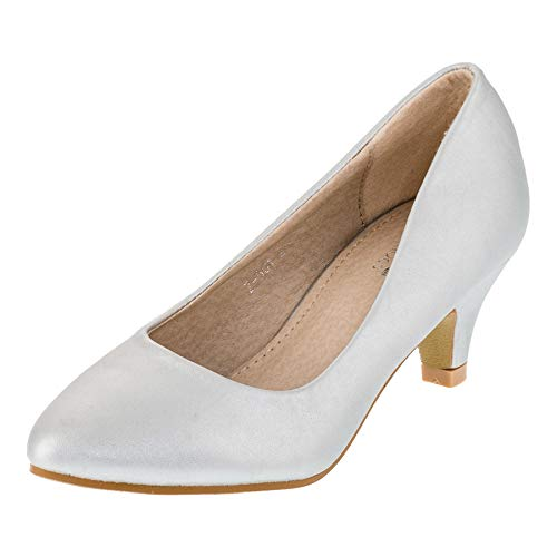 Festliche Mädchen Pumps Ballerina Schuhe Absatz Glitzer in vielen Farben M342si Silber 34