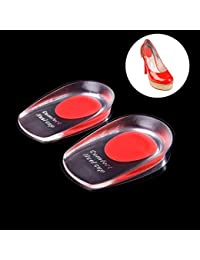 Alexvyan Silicone Gel Shock Cushion Orthotic Insole Plantar Heel Support 1 Pair Red For Women Size 5 To 9.5