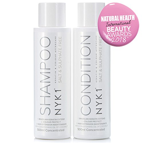 Salt Sulphate Free Shampoo and Conditioner - (500ml x2) BEST Aftercare for Extensions, Hair Colour and Keratin Kit Treatment Natural Protect for Brazilian Blow Dry Straightening Products, Prevent Damaged Hair, Fix Damage and Prolong Straight Smoothing Tre