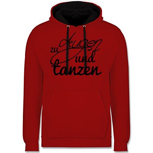 Statement Shirts - Augen zu und tanzen Typo - Kontrast Hoodie Rot/Schwarz