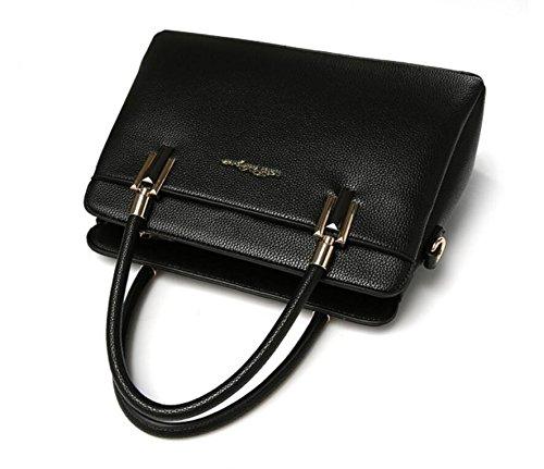 Hqyss Borse Da Donna Cuoio Dolce Lady Borsa A Tracolla Messenger Ol Commuter Tote Bag In Tinta Unita Nera