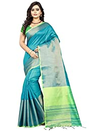 Fabattic Women's Tussar Silk Sky Blue Saree With Blouse Piece (Anantha-C)