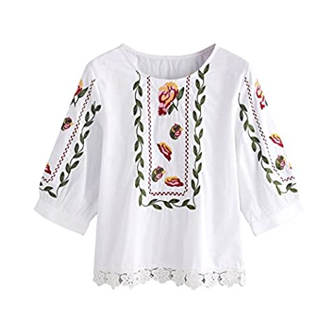 DAYLIN 1pc Women Lace Fashion Flower Printed Blouse Casual Tops Loose T-Shirt (L)