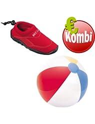 Beco combinado Surf Zapatos Zapatillas Playa Rojo + Beach Agua pelota
