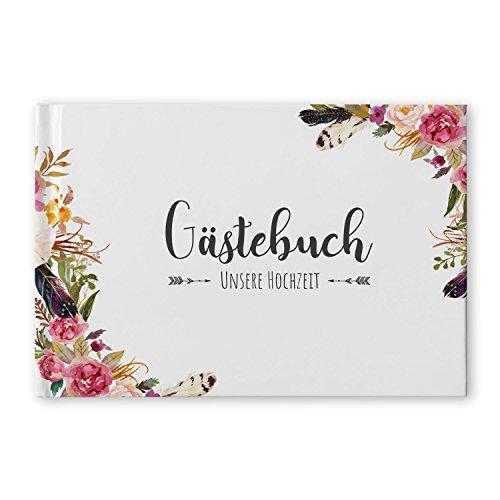 bigdaygraphix Gästebuch Hochzeit ohne Fragen Hochzeitsgästebuch weiße Seiten blanko Boho Dream Vintage Hardcover