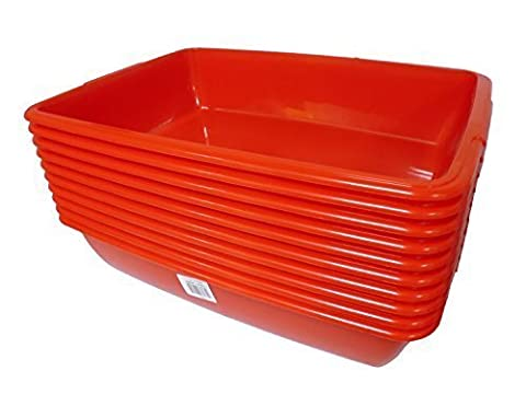 10 x Red Medium Cat Litter Trays Plastic Tray Box Cattery / Office Pack (10 x Red Trays / Boxes) - Cats Paper Rabbit