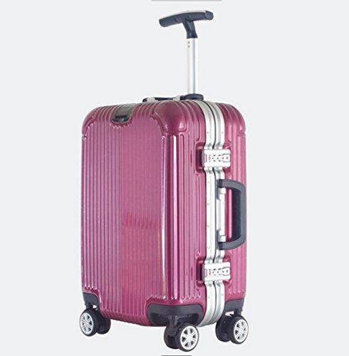 Valigia trolley di alluminio commerciale nero universale ruota casella Disattiva unipolari bagagli wine red