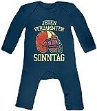 ShirtStreet American Football Gruppen Fan Baby Strampler Langarm Schlafanzug Jungen Mädchen Jeden verdammten Sonntag 2, Größe: 3-6 Monate,Nautical Navy