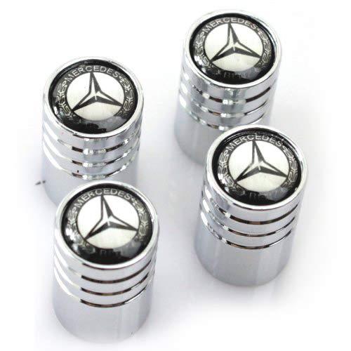 Libra 4X Cappucci Tappi Pneumatici Cerchi Auto Logo Mercedes Nero con Palma di Alloro