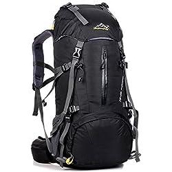 UMEICOOL 50L Imperméable Sac à dos Grande Contenance Backpack avec Housse de Pluie pour Sport Randonnée Trekking Camping Voyage Alpinisme Escalade (noir)