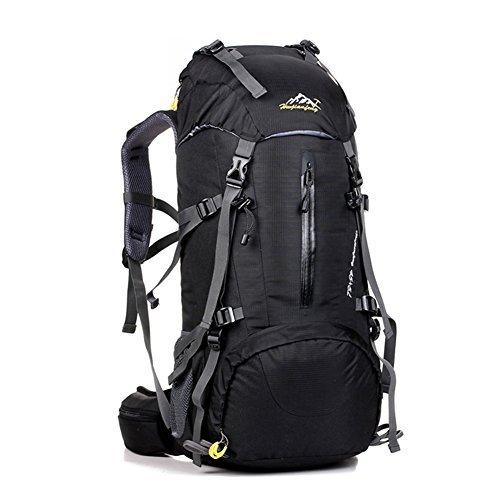 UMEICOOL 50L Impermeabile Zaino Alta Capacità Nylon Sport Trekking Escursioni Campeggio alpinismo Viaggio Arrampicata Zaino con Copertura della Pioggia (nero)