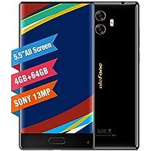ULEFONE MIX - Móviles Libres 4G( Android 7.0 Pantalla de 5.5 HD Pantalla,Cámara Trasera de 13.0MP , 64GB de ROM , 4GB de RAM, MTK6750T 1.5GHz Octa Core , Dual SIM 3300mAh Móviles ) Marco Metálico - Negro