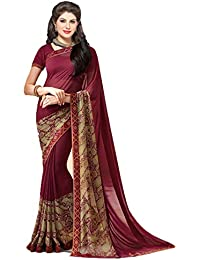 506a06c91c116 Vishnu Creations Georgette Saree With Blouse Piece (A20 Maroon Red Free  Size)