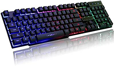 Protokart Rainbow LED Backlit USB Wired Mechanical Feel Multimedia Gaming Keyboard