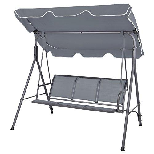 BB Sport 3-Sitzer Hollywoodschaukel mit abnehmbarem und neigbarem Sonnendach Gartenschaukel für 3 Personen belastbar bis 250 kg